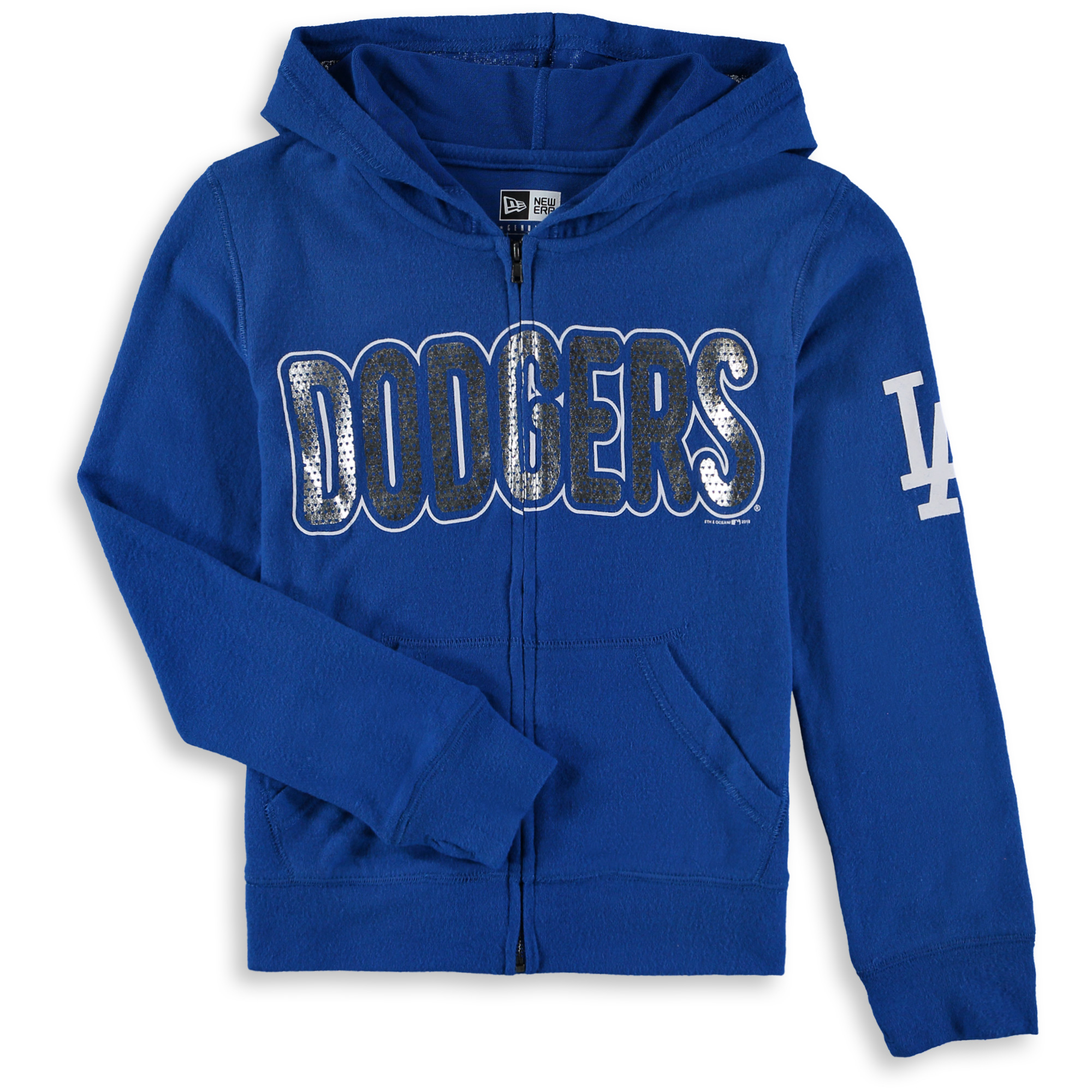 Los Angeles Dodgers 5th & Ocean by New Era Girls Youth Brushed Sweater Knit Tri-Blend Full-Zip Hoodie - Royal
