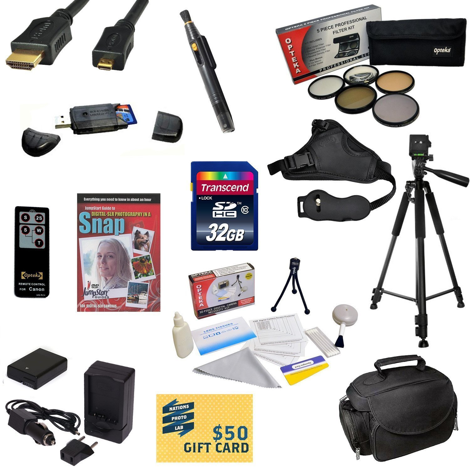 Must Have Kit for Nikon D7100 D7000 32GB SDHC Card, Card Reader, Battery, Charger, 67MM 5 Piece Pro Filter Kit, HDMI Cable, Padded Gadget Bag, Remote Control, Tripod, $50 Gift Card, More
