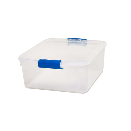 Homz 15 5 Qt  Plastic Storage Boxes With Latches  Clear Blue  Set Of 4