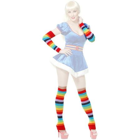 Womens Rainbow Striped Clown Costume Arm And Leg Warmer Set - Adult Rainbow Shark