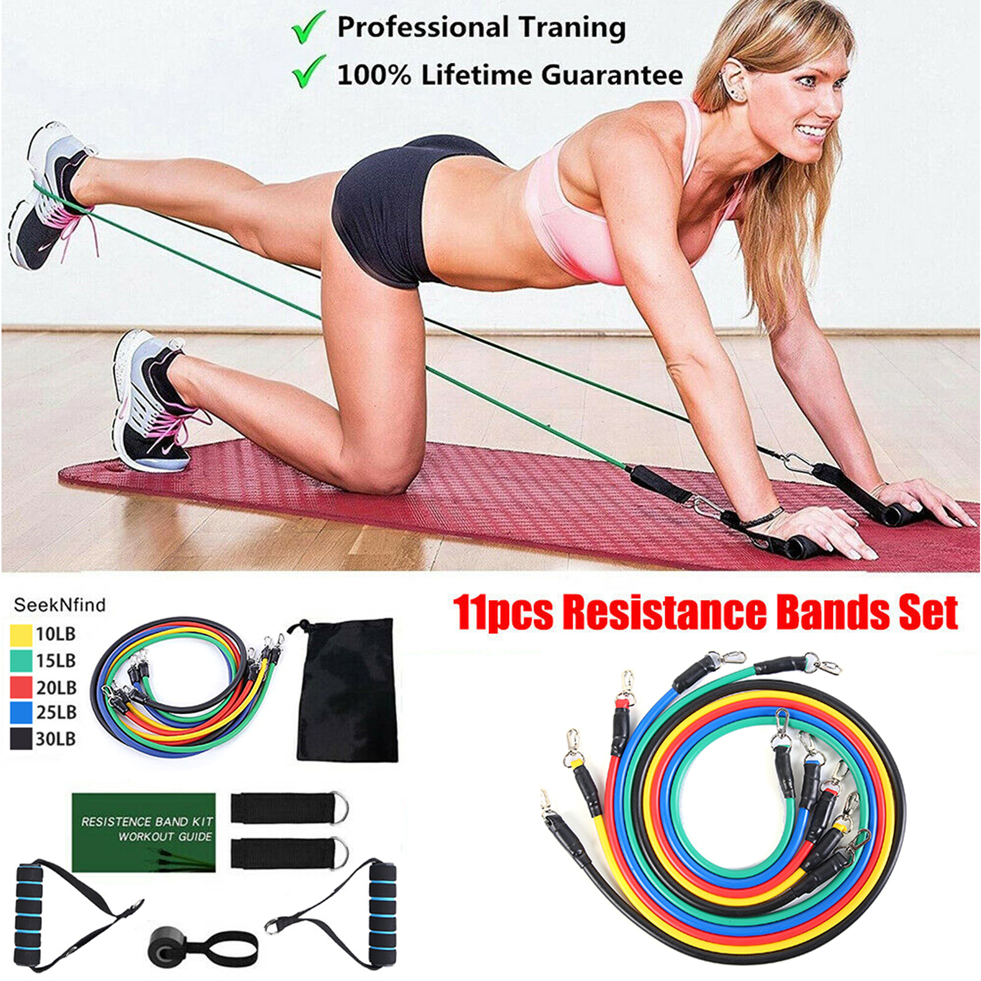 Details about  /11pcs Elastic Exercise Bands Set with Handles Door Anchor Workout Bands Gym