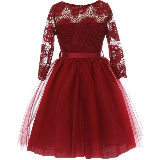 47909d258 Dreamer P - Little Girls Long Sleeve Girls Dress Floral Lace Roses ...