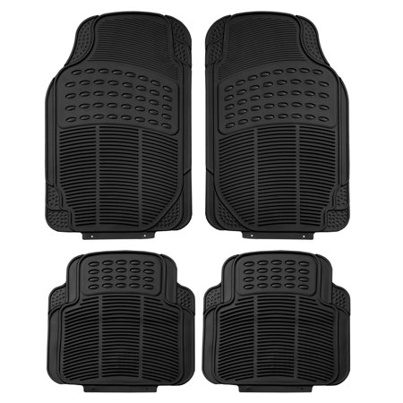 FH Group Heavy-Duty 4-piece Front and Rear Rubber Car Floor Mats, All Weather Protection for Auto, 3 Colors