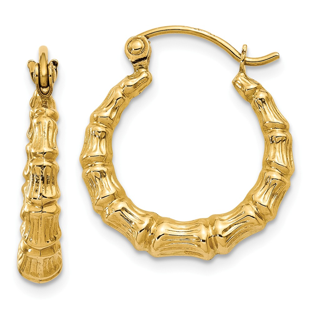 14K Yellow Gold Polished Bamboo Design Hollow Hoop Earrings