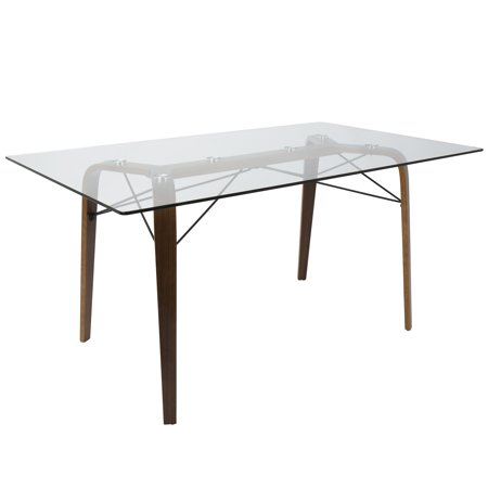 Trilogy Mid Century Modern Dining Table In Walnut And Clear Glass By Lumisource