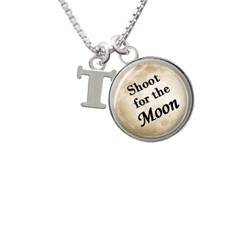 "Small Greek Letter - Tau - Shoot for the Moon Glass Dome Necklace, 18""+2"""