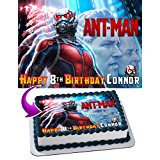Ant Man Marvels Edible Cake Topper Personalized Birthday 1/4 Sheet Decoration Custom Sheet Party Birthday Sugar Frosting Transfer Fondant Image for cake (Marvel Cake Toppers)