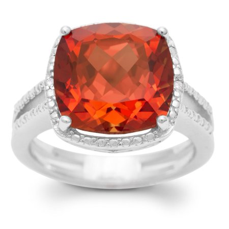 Natural Padparadscha Sapphire - 5 1/3 Carat Split Shank Cushion Cut Created Padparadscha Sapphire and Diamond Ring In Sterling Silver - 7