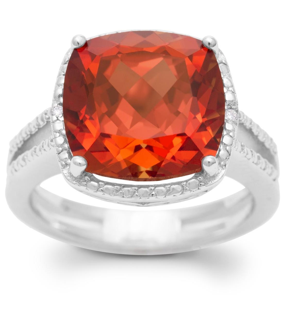 5 1/3 Carat Split Shank Cushion Cut Created Padparadscha Sapphire and Diamond Ring In Sterling Silver - 7