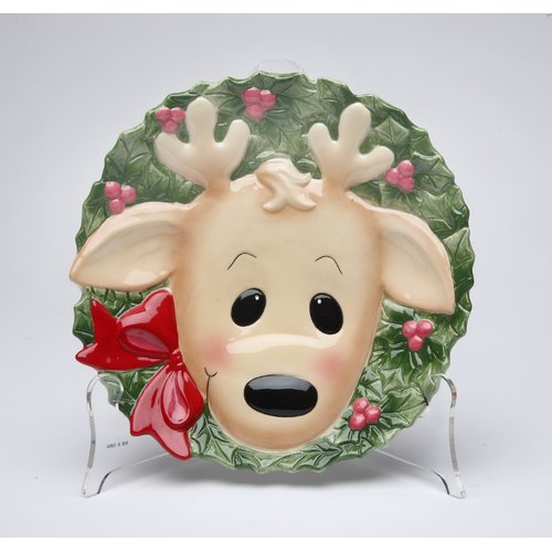 Cosmos Gifts Reindeer Plate (Set of 4)