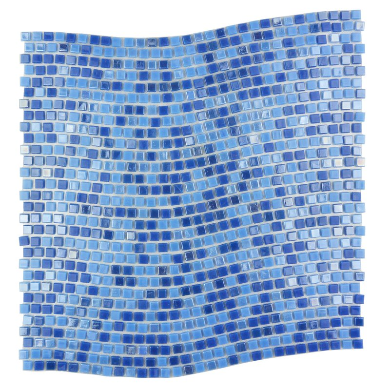 "Abolos- Galaxy Wavy 0.31"" x 0.31"" Glass Mosaic Tile in Blue (10sqft - 10pc Box)"
