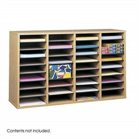 - safco products wood adjustIle literature organizer, 36 compartment 9424mo, medium oak, durIle construction, removIle shelves, stackIle