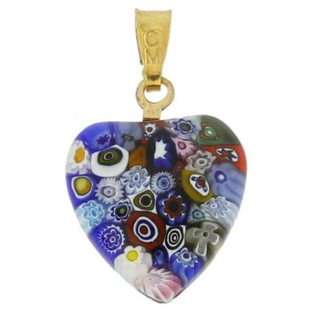 GlassOfVenice Murano Glass Millefiori Heart Pendant - Gold Multicolor (Millefiori Multi Color Heart)