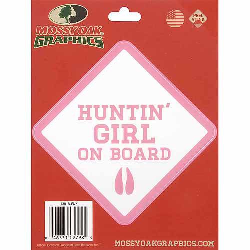 Mossy Oak Graphics Huntin' Girl on Board Decal, Pink