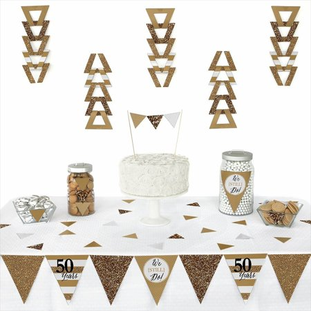 We Still Do - 50th Wedding Anniversary - Triangle Wedding Anniversary Party Decorations - 72 Pieces