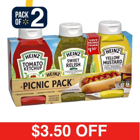 (2 Pack) Heinz Variety Pack Ketchup, Sweet Relish & Yellow Mustard, 3 count Sleeve