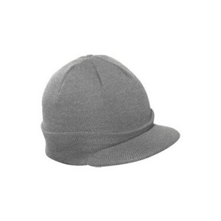 Knit Brim Ski Hat - Winter Visor Cap Skull Beanie (Gray)