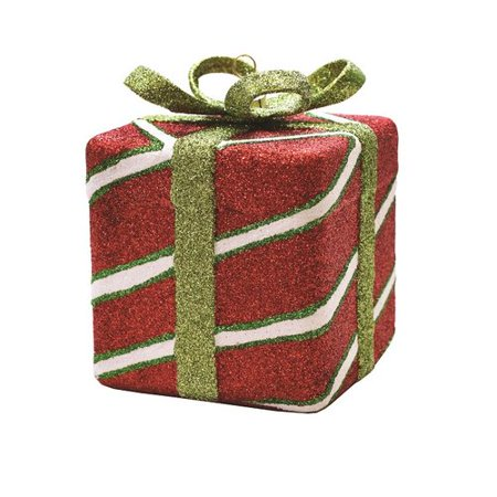 The Holiday Aisle Merry and Bright Xmas Glitter Stripe Shatterproof Gift Box Christmas (Merry Christmas Gift Box)
