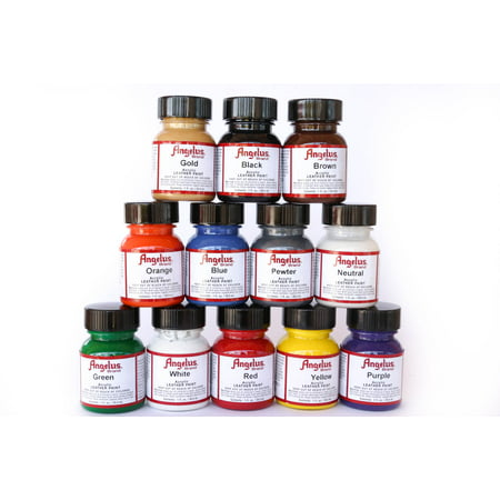 Angelus Acrylic Leather Paint Starter Kit - 12 colors in 1 oz bottles w/Appl. (Acrylic Handle Starter)
