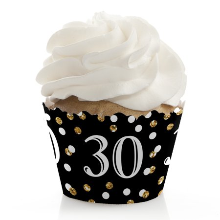 30th Birthday Party Decor (Adult 30th Birthday - Gold - Birthday Party Cupcake Wrappers - Set of 12)