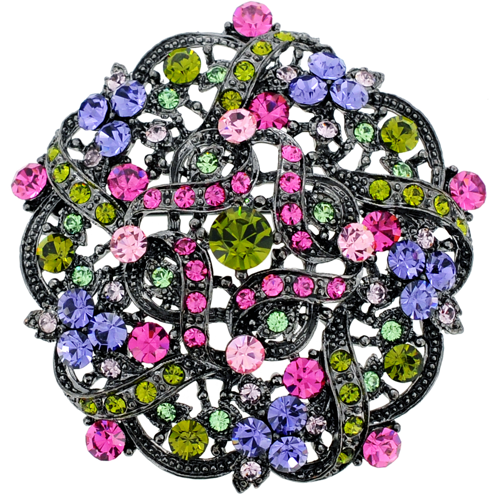 Multicolor Flower Wedding Swarovski Crystal Brooch and Pendant by