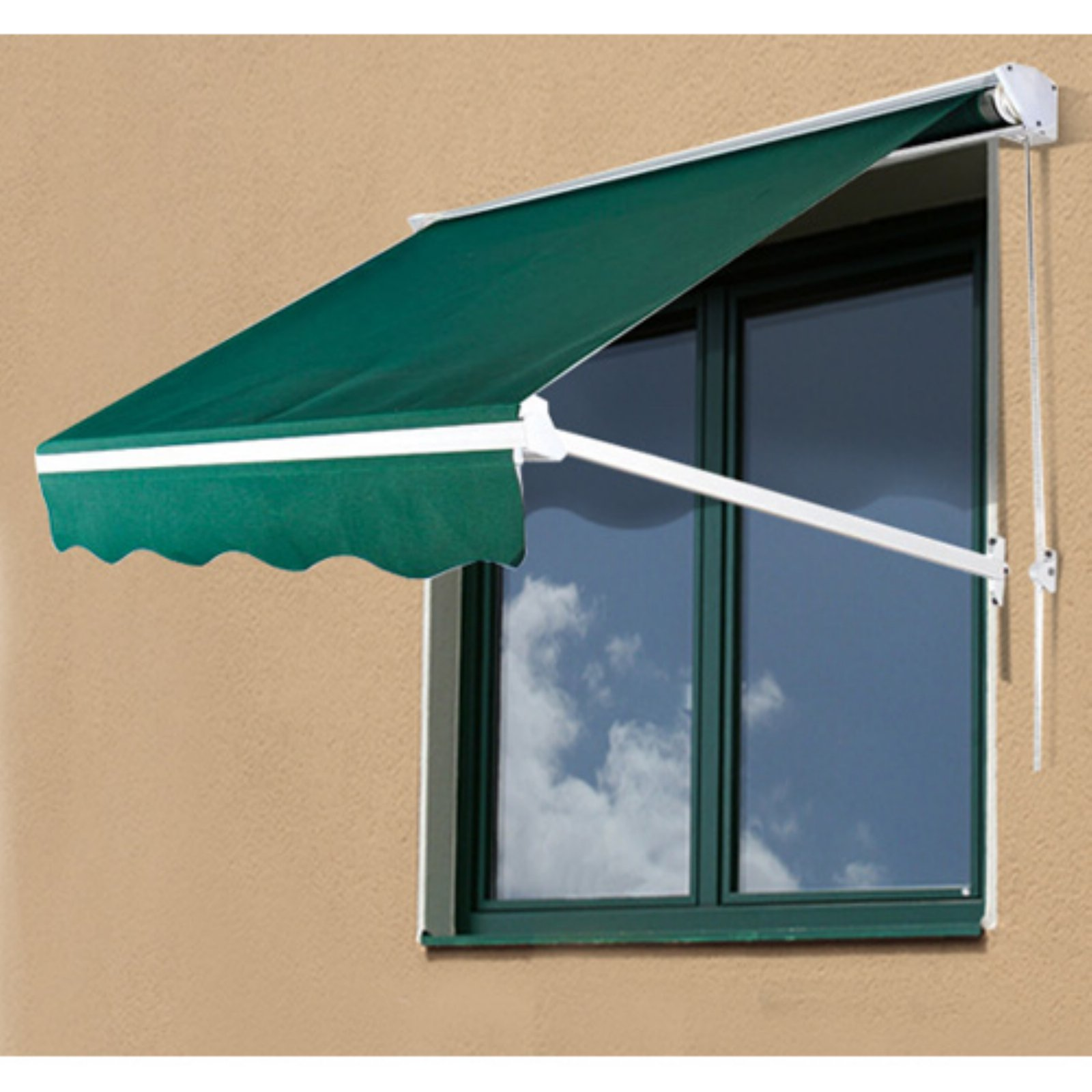 Outsunny 4 ft. Drop Arm Manual Retractable Window Awning