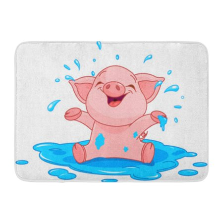GODPOK Cartoon Pig of Very Cute Piggy in Puddle Baby Animal Rug Doormat Bath Mat 23.6x15.7 inch (Kermit Ms Piggy)