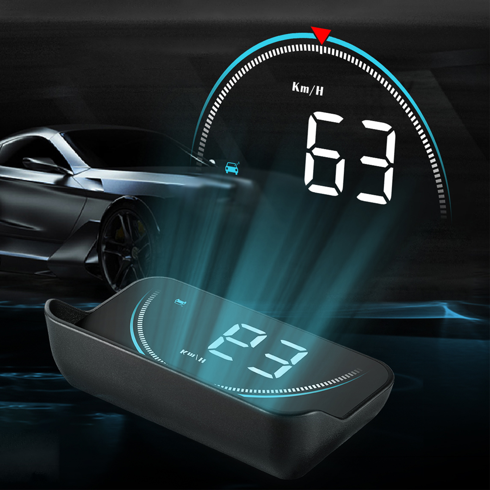 TSV Heads Up Display HUD Screen, Universal Car Head-Up Windshield Display w/Multi-Color Screen Projector Vehicle Speed, GPS Navigation Compass, Plug and Play w/Speed, Time, Battery Voltage