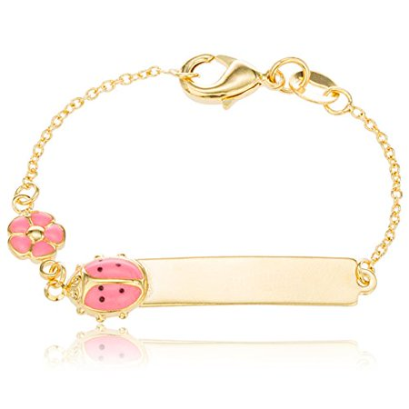 Two Year Warranty Gold Overlay 6 Inch ID Bar Baby Bracelet with a Pink Ladybug & Flower - Ladybug Bracelet