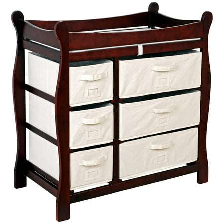 - Badger Basket - Changing Table with Six Baskets, Cherry
