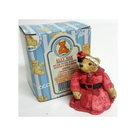 Enesco Elly May Bear w/ White Bonnet Centimental Teddy Bear Figurine By Peter Fagan #116521 Enesco Cherished Teddies Bear
