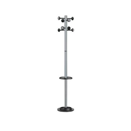 Kos Lighting Accueil Coat Stand with Eight Pegs, Grey PFW100340698