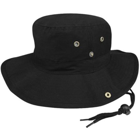 Aussie Suede Hat (MG Men's Brushed Cotton Twill Aussie Side Snap Chin Cord Hat - Black)