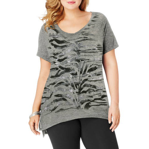 Just My Size Women's Plus-Size Printed V-neck Tunic
