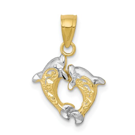 10k Yellow Gold Small Dolphin Pendant Charm Necklace Sea Life Gifts For Women For Her