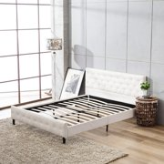 Bed Frame Metal Mecor Button Tufted Upholstered Platform Queen Size White PU Leather