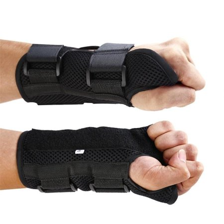 Breathable Wrist Brace Medical Carpal Tunnel Splint Support Arthritis Sprain Gym Hand Protector 3 Straps Adjustable Removable Metal Strips ()
