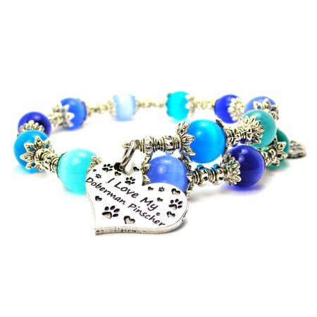 Chubby Chico Charms I Love My Doberman Pinscher Heart Cat's Eye Wrap Charm Bracelet in Sapphire Blue and Aqua (Doberman Pinscher Dog Charm)
