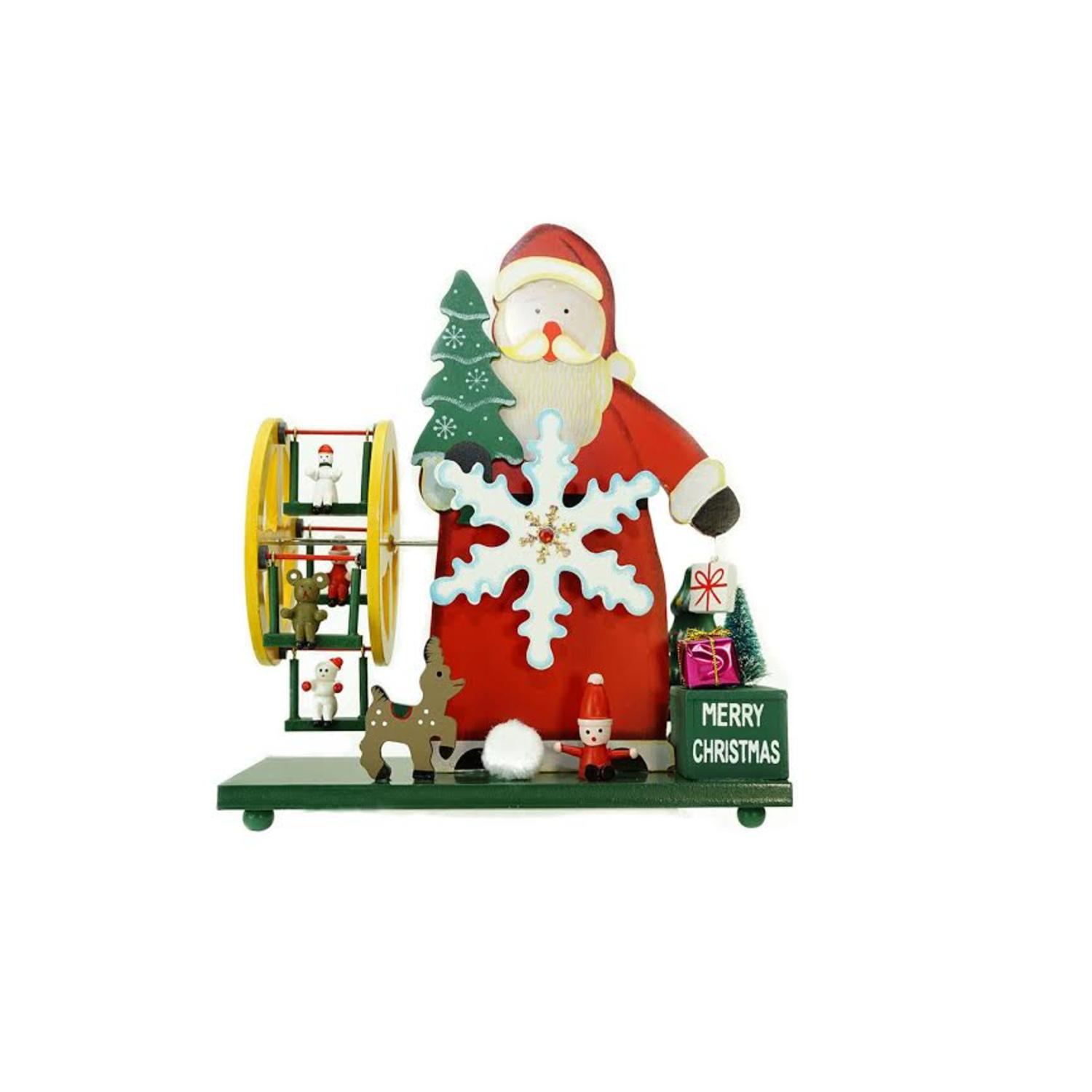 "9.25"" Wooden Santa Claus and Winter Wonderland ""Merry Christmas"" Musical Table Top Decoration"