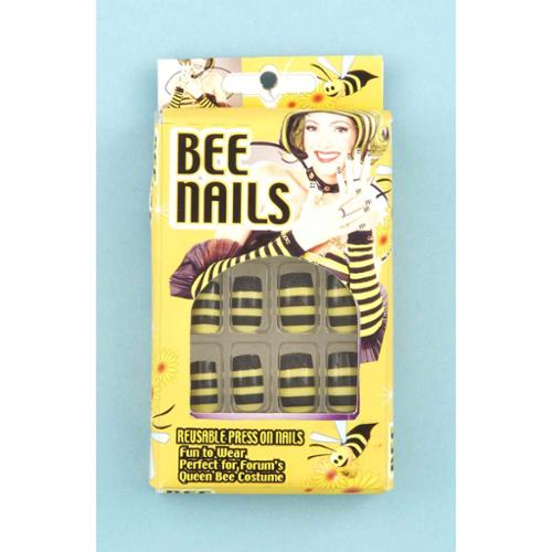 Black & Yellow Striped Bee Press-on Nails Costume Accessory