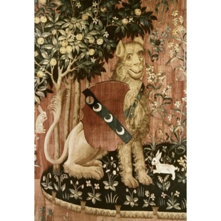Lady   The Unicorn   Sense Of Touch 15Th Century Tapestry Musee National Du Moyen Age Thermes   Hotel De Cluny Paris France Poster Print