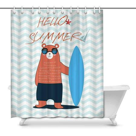 MKHERT Hello Summer Teddy Bear Surfboard in Stripes Ocean Waves Home Decor Waterproof Polyester Bathroom Shower Curtain Bath Decorations Hooks 66x72 inch (Ocean Wave Stripe)