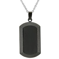 Oxford Ivy Men's Black Plated Stainless Steel Dog Tag Necklace