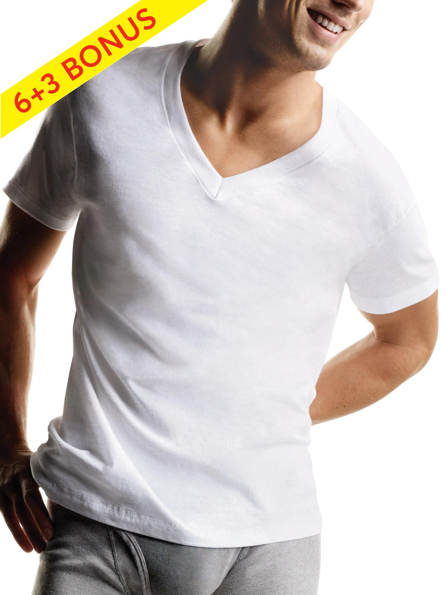Hanes - Hanes Men's Tagless ComfortSoft White V-Neck Undershirt, 6 + 3 Bonus Pack - Walmart.com