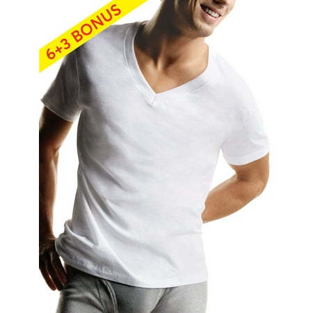 Hanes Men's Tagless ComfortSoft White V-Neck Undershirt, 6 + 3 Bonus
