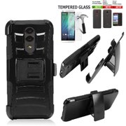 "Phone Case For Straight Talk Alcatel TCL A1X Smartphone 5.5""/ TCL A1X Case / A503DL Case +Tempered Glass with Shock Absorbing Holster Belt Clip (Holster Black Edge +Tempered Glass)"