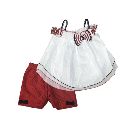 c554fddc60050 Rare Editions - Toddler Girls Patriotic 4th of July Outfit Red White & Blue  Shirt & Shorts Set - Walmart.com