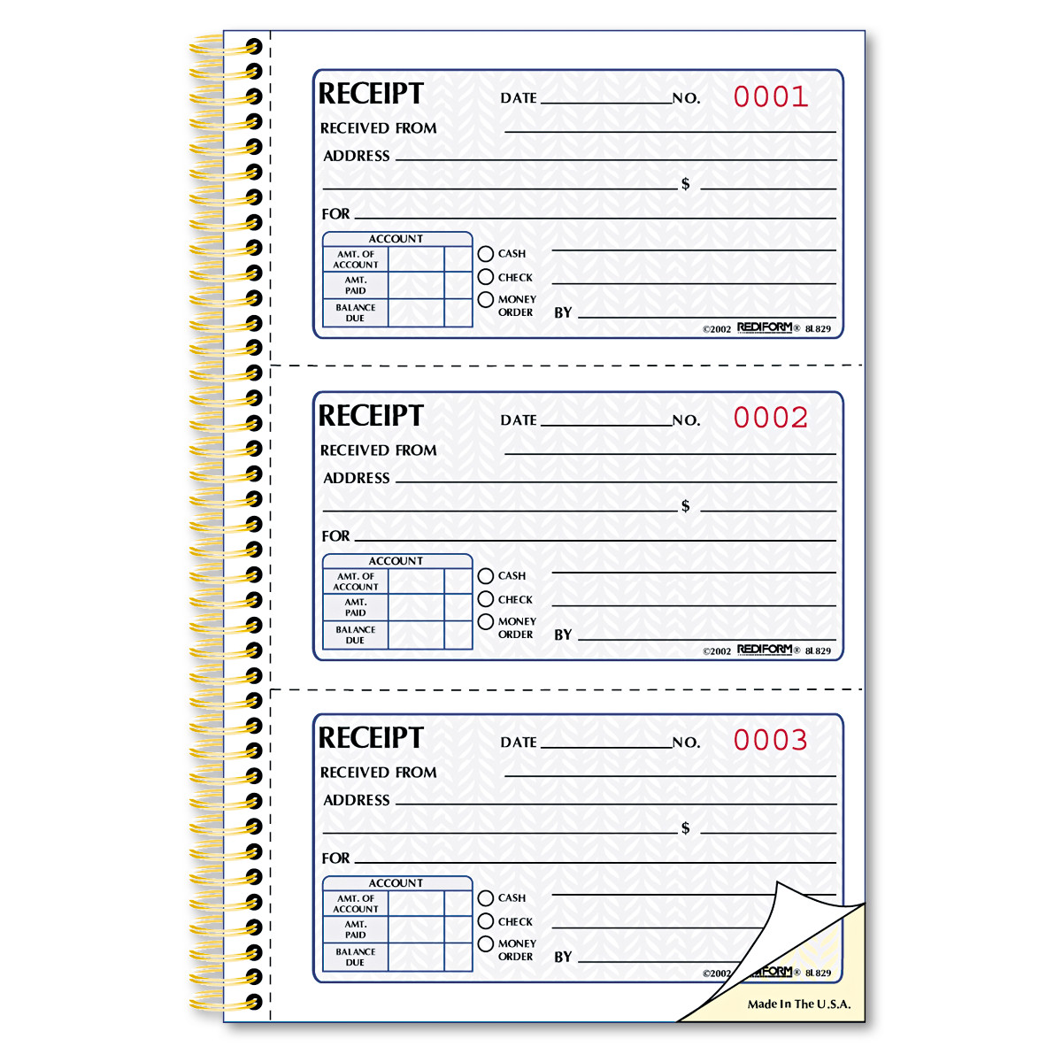 Rediform Money Receipt Book, 5 x 2 3/4, Two-Part Carbonless, 225 ...