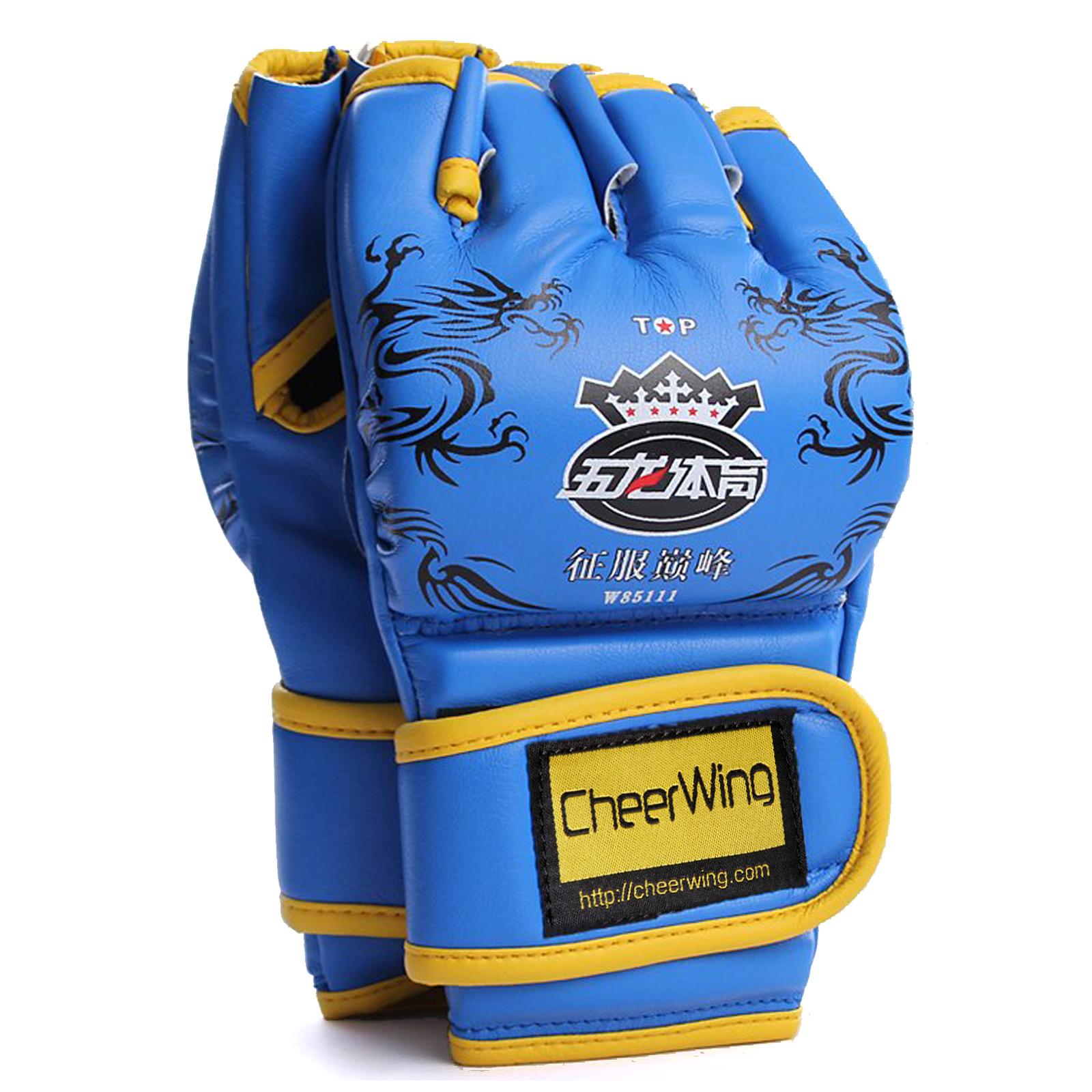 Cheerwing PU Leather MMA UFC Half Finger Boxing Gloves Sanda Fighting Sandbag Gloves Punch Mitts of Training