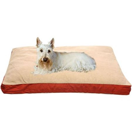 Red Barn Pet Foods (Carolina Pet 012000 MF Four Season Memory Foam Jamison Pet Bed with Cashmere Berber Top & Contrast Cording - Barn Red with Khaki Cord, Small)